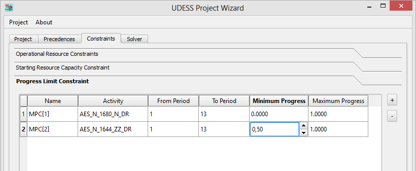 udess progress limit constraint 2
